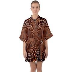 Pattern Texture Star Rings Quarter Sleeve Kimono Robe