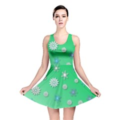 Snowflakes Winter Christmas Overlay Reversible Skater Dress