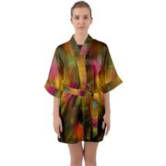 Star Background Texture Pattern Quarter Sleeve Kimono Robe by Sapixe
