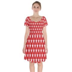 Star Christmas Advent Structure Short Sleeve Bardot Dress by Sapixe