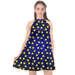 Star Christmas Red Yellow Halter Neckline Chiffon Dress  by Sapixe