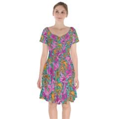 Flower Paisley 1 Short Sleeve Bardot Dress by stephenlinhart