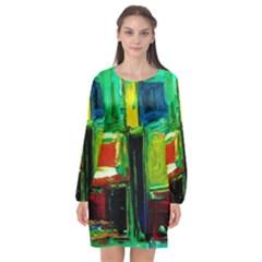 Marakesh 5 Long Sleeve Chiffon Shift Dress  by bestdesignintheworld