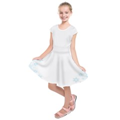 The Background Snow Snowflakes Kids  Short Sleeve Dress