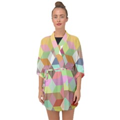 Mosaic Background Cube Pattern Half Sleeve Chiffon Kimono