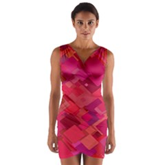 Red Background Pattern Square Wrap Front Bodycon Dress