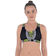 Zombie Pictured Illustration Cross String Back Sports Bra by Sapixe