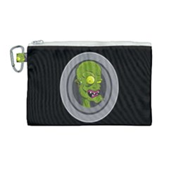 Zombie Pictured Illustration Canvas Cosmetic Bag (large) by Sapixe