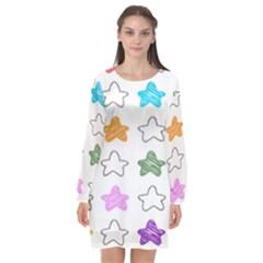 Stars Set Up Element Disjunct Image Long Sleeve Chiffon Shift Dress  by Sapixe