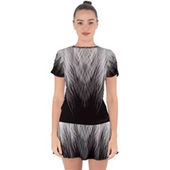 Feather Graphic Design Background Drop Hem Mini Chiffon Dress by Sapixe