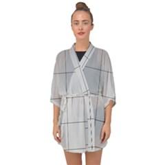 Abstract Architecture Contemporary Half Sleeve Chiffon Kimono
