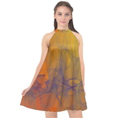 Fiesta Colorful Background Halter Neckline Chiffon Dress  by Sapixe