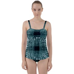 Abstract Perspective Background Twist Front Tankini Set by Sapixe