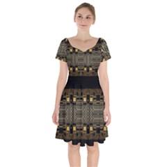 Board Digitization Circuits Short Sleeve Bardot Dress by Sapixe