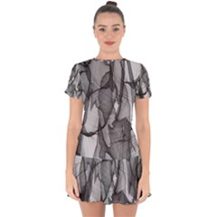 Abstract Black And White Background Drop Hem Mini Chiffon Dress by Sapixe