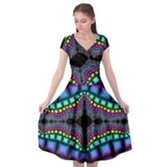 Fractal Art Artwork Digital Art Cap Sleeve Wrap Front Dress by Sapixe