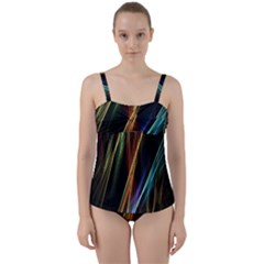 Lines Rays Background Light Twist Front Tankini Set by Sapixe