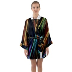 Lines Rays Background Light Long Sleeve Kimono Robe by Sapixe