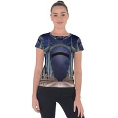 Bridge Mars Space Planet Short Sleeve Sports Top  by Sapixe