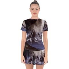 Mountains Moon Earth Space Drop Hem Mini Chiffon Dress by Sapixe