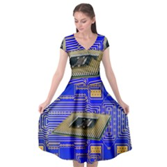 Processor Cpu Board Circuits Cap Sleeve Wrap Front Dress by Sapixe