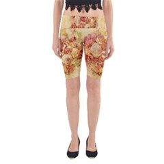 Vintage Digital Graphics Flower Yoga Cropped Leggings by Sapixe