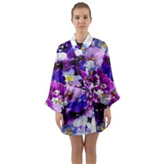 Graphic Background Pansy Easter Long Sleeve Kimono Robe by Sapixe
