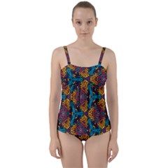 Grubby Colors Kaleidoscope Pattern Twist Front Tankini Set by Sapixe