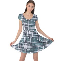 Board Circuit Control Center Cap Sleeve Dress