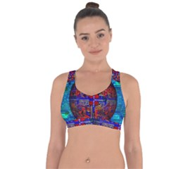 Board Interfaces Digital Global Cross String Back Sports Bra by Sapixe