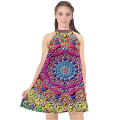 Background Fractals Surreal Design Halter Neckline Chiffon Dress  by Sapixe
