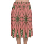 Bubbly Green Pink Blue Velvet Flared Midi Skirt