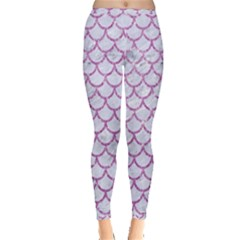 Scales1 White Marble & Purple Glitter (r) Inside Out Leggings by trendistuff
