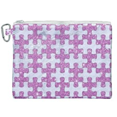 Puzzle1 White Marble & Purple Glitter Canvas Cosmetic Bag (xxl) by trendistuff