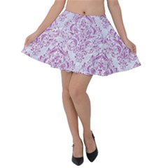 Damask1 White Marble & Purple Glitter (r) Velvet Skater Skirt by trendistuff