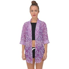 Damask1 White Marble & Purple Glitter Open Front Chiffon Kimono