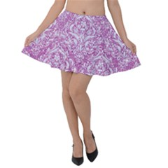 Damask1 White Marble & Purple Glitter Velvet Skater Skirt by trendistuff