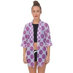 Circles2 White Marble & Purple Glitter (r) Open Front Chiffon Kimono