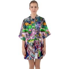 Budha Denied The Shine Of The World Quarter Sleeve Kimono Robe by bestdesignintheworld