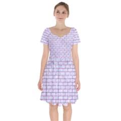 Brick1 White Marble & Purple Glitter (r) Short Sleeve Bardot Dress by trendistuff