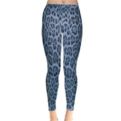 Blue Leopard Print Leggings  by CasaDiModa