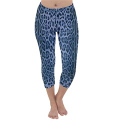Blue Leopard Print Capri Winter Leggings  by CasaDiModa