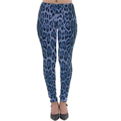 Blue Leopard Print Lightweight Leggings by CasaDiModa