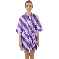 Stripes3 White Marble & Purple Denim Quarter Sleeve Kimono Robe by trendistuff