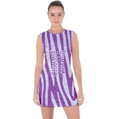 Skin4 White Marble & Purple Denim (r) Lace Up Front Bodycon Dress
