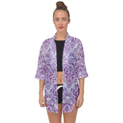 Damask1 White Marble & Purple Denim (r) Open Front Chiffon Kimono by trendistuff