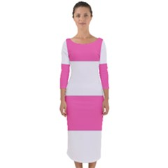 Horizontal Pink White Stripe Pattern Striped Quarter Sleeve Midi Bodycon Dress by yoursparklingshop
