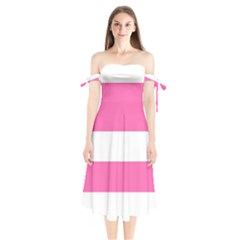 Horizontal Pink White Stripe Pattern Striped Shoulder Tie Bardot Midi Dress by yoursparklingshop