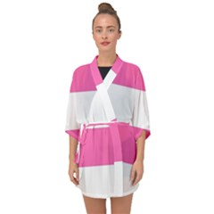 Horizontal Pink White Stripe Pattern Striped Half Sleeve Chiffon Kimono