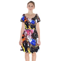 Smashed Butterfly 5 Short Sleeve Bardot Dress by bestdesignintheworld